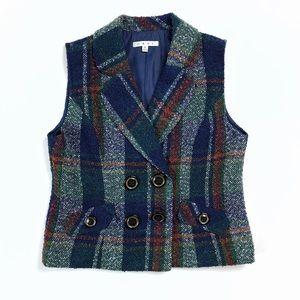 CAbi plaid tweed wool blend double breasted vest